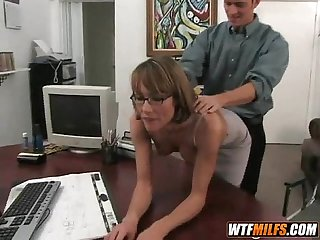 Hot milf with glasses has nice tits and loves young cock 2