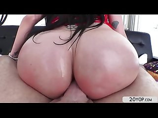 Gorgeous raven recieves a hard anal fuck by a hunk dude