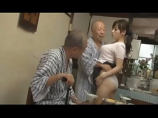 Sexy Azusa Nagasawa has sex with two lucky old men