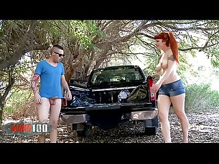 Sexy spanish busty redhead hitchicker fucked in the wood