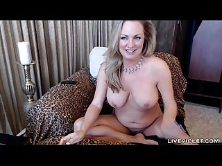 Squirting blonde cougar Nikki with perfect huge boobs