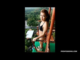Naked Asian bungee jumping in public