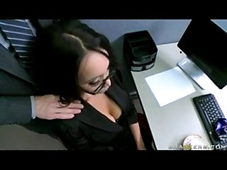 Big tit asian office slut caught masturbating in heels with johnny sins