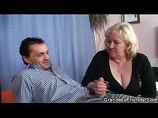 Huge grandma riding and sucking both cocks