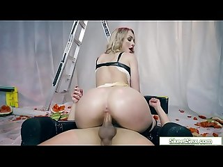 Bigassed chick fucks bf cowgirl style