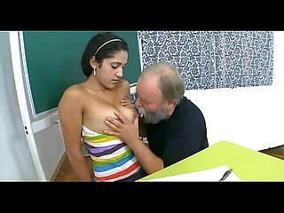 Elderly teacher pleasured by legal age teenager