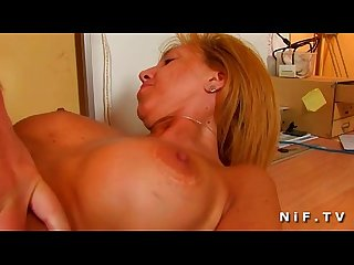 Hairy mateur blonde mature hard anal fucked and facialized