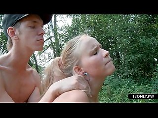 Extreme college porn threesome outdoor scene