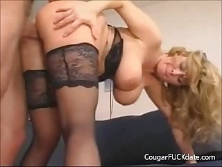 Big titted cougar gets her pussy fucked hard