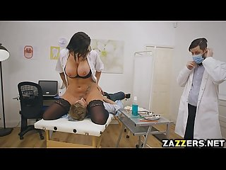 Big tittied doctor candy got her pussy licked by her patient