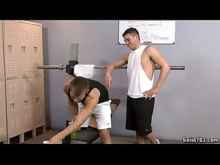 Sexy gays Hunter and Mike having wild sex in the gym only on Suite703