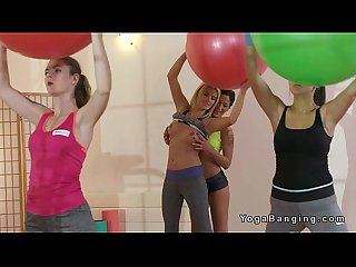 Lesbian fitness coach in threesome in the gym