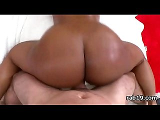 Round black ass gets doggytsyled by white cock