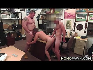 Horny pawnshop owner initiate gay threesome with his costumer and assistant