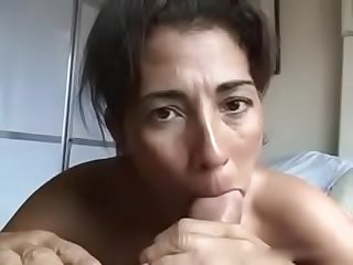 Brazilian milf with big ass gets a facial