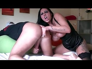 Wild goth girl jerking and sucking big penis