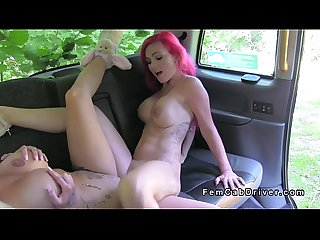 Huge fake tits lesbians tribbing in fake taxi
