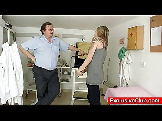 Petite babe scarlet harrassed by gyno doctor