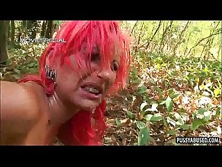Tasty redhead gets fucked hard anally outdoors