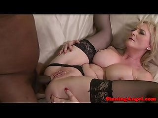 Interracial loving cougar on interracial affair