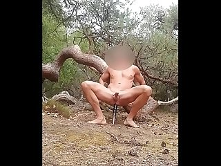 Big Prostate Orgasm in the woods