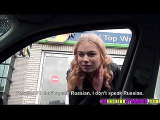 Russian cutie sucks a cock like a Pro