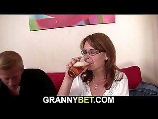 Boozed mature woman is picked up
