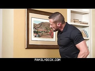 Familydick hot muscle daddy fucks stepson S mouth for playing with the heat