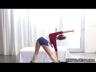 Tiny ballerina gets cum