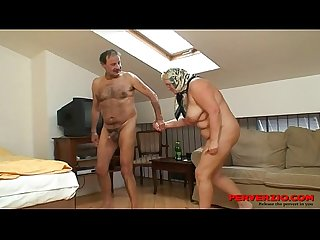 Mature couple fucks in a hotel room