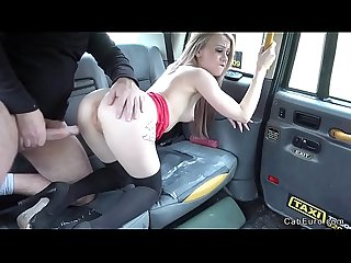 Blonde masturbates and fucks in fake taxi