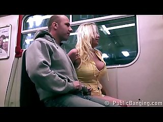 Stella fox is fucked in a subway train by 2 guys with big dicks