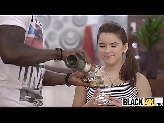 Russian teen enjoys a black cock in her mouth and pussy
