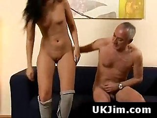 Gorgeous brunette babe with round butt fucked by old man
