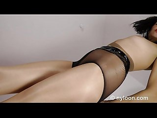 Gia in nylon Encasement pantyhose inside pussy