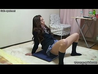 Japanese schoolgirl upskirt open leg in uniform