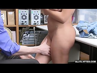 Latina babe gets her big tits squeezed as the LP Officer pushes her over the table and romps her..