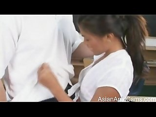 Asian schoolgirl Gets an anal creampie from a white cock BWC ass