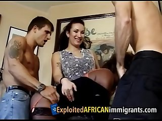 Mature African immigrant women forced to serve white cock in a foursome.