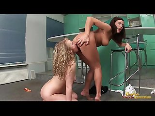 Kitchen domination with lesbian blonde and brunette