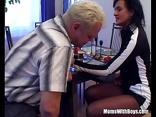 Brunette Milf Sucking And Fucking Husband's cock