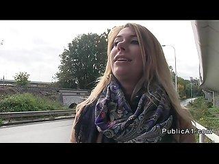 Beautiful czech amateur bangs in public pov