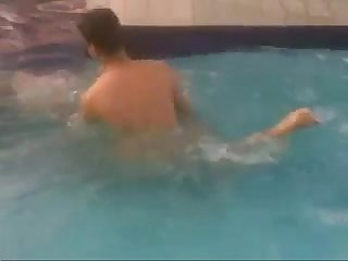 Desi girl enjoyed by her colleagues in pool