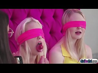 Abella using pussy and squirt for a blindfold tasting game