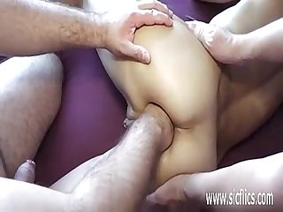 Amateur wife brutally gang bang fist fucked