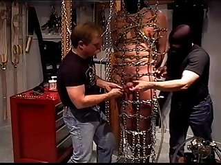 Cbt orgy suspended and caged in chains