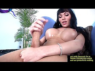 Tranny tgirl pulls on her hard cock