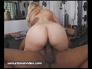 Busty chubby model fucks her big black personal trainer