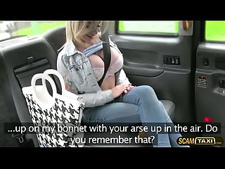 Skanky woman sucks meaty cock and fucks inside the taxi