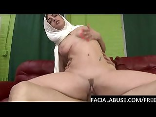 Arab chick rides a huge cock deep